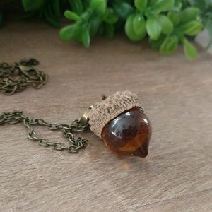 Bronze acorn pendant necklace